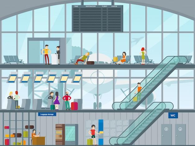 Menschen im flughafenkonzept Kostenlosen Vektoren