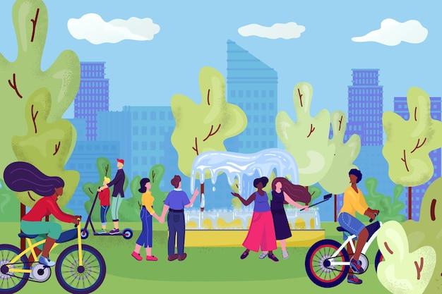 Menschen im stadtpark, auf fahrrädern, spaß in der nähe von fontain, freizeit und ruhe in der sommernatur, selphies mit freunden illustration machen. paar, das im park geht und sich an sonnigem tag entspannt. Premium Vektoren