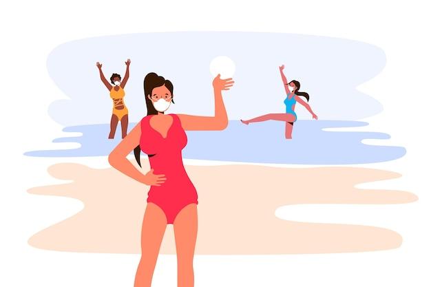 Menschen im strand mit maskenkonzept Kostenlosen Vektoren