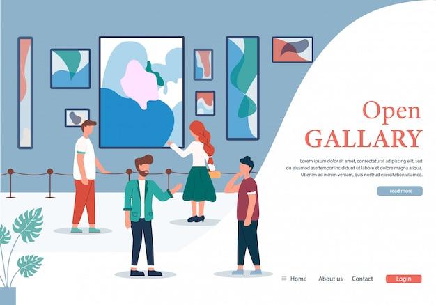 Menschen in der galerie für zeitgenössische kunst öffnen banner Premium Vektoren