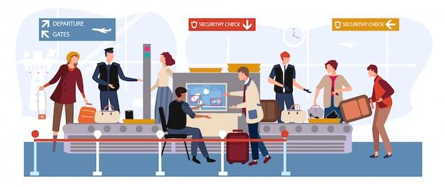 Menschen in flughafenillustration, karikaturmann-frau reisen charaktere mit gepäck, das durch scanner und sicherheitskontrollpunkt geht Premium Vektoren