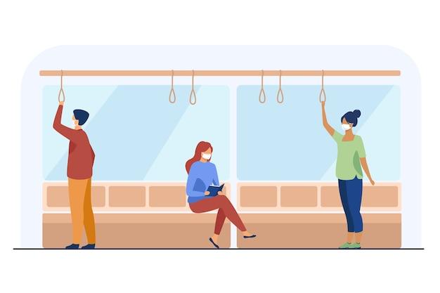 Menschen in gesichtsmasken mit öffentlichen verkehrsmitteln. virus, prävention, quarantäne flache vektor-illustration. transport- und pandemiekonzept Kostenlosen Vektoren