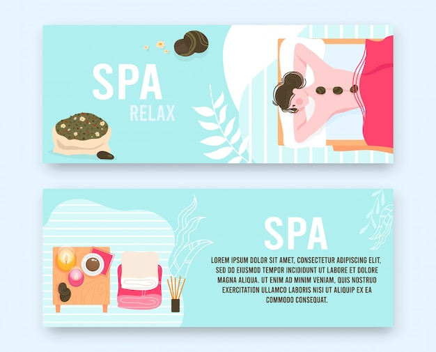 Menschen in massage spa schönheitssalon flache illustration gesetzt. karikatur schöne frau patientin entspannung und liegen mit heißen steinen auf dem rücken, luxus-körperpflege-behandlung, massageverfahren banner Premium Vektoren