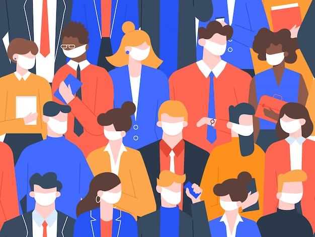 Menschen in medizinischen masken. coronavirus-quarantäne, nahtloses crowd-muster für soziale distanz. illustration zum schutz vor virusinfektionen. menschen medizinische maske, schutz vor kontamination Premium Vektoren