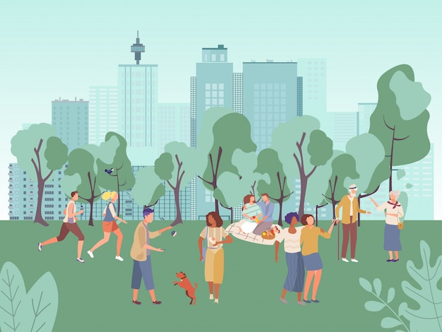 Menschen in stadtparkillustration, karikatur flache frau mann charaktere haben spaß auf picknick, gehen oder laufen in gesunden sportaktivitäten Premium Vektoren