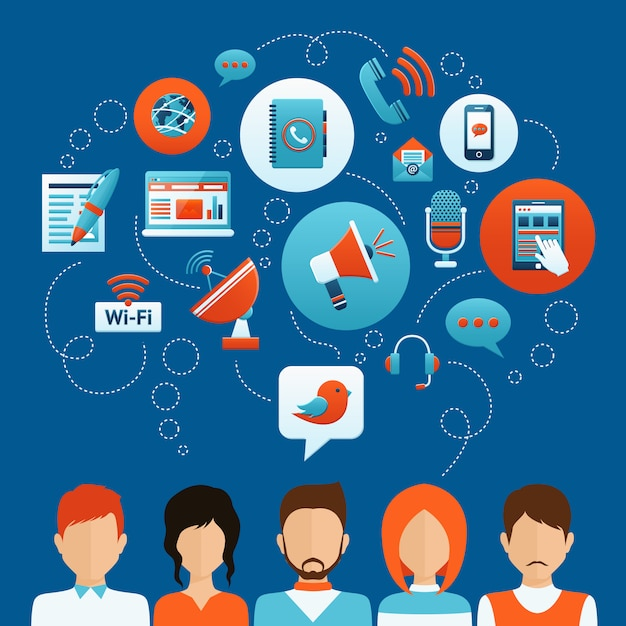 Menschen kommunikationskonzept Kostenlosen Vektoren