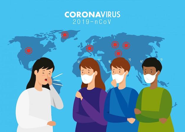 Menschen krank von coronavirus 2019 ncov Kostenlosen Vektoren