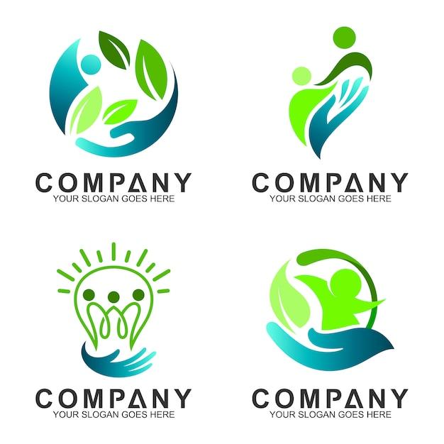 Menschen kümmern flache logo-design Premium Vektoren