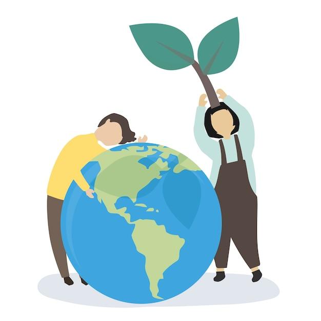 Menschen kümmern sich um die welt und die umwelt Kostenlosen Vektoren