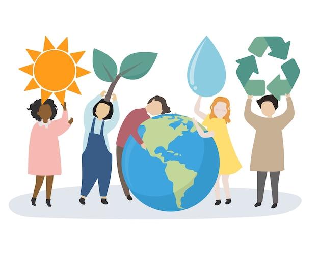 Menschen kümmern sich um die Welt und die Umwelt Kostenlose Vektoren