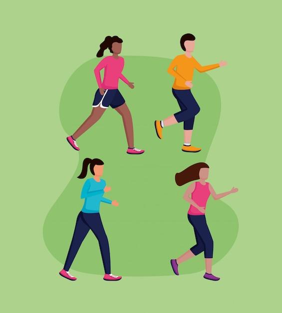Menschen laufen aktivität Kostenlosen Vektoren