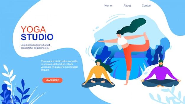 Menschen meditieren im yoga studio Premium Vektoren