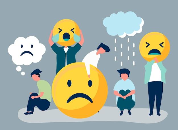 Menschen mit depressionen und unzufriedenheit Kostenlosen Vektoren