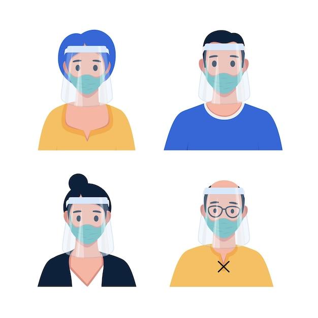 Menschen mit gesichtsschutz und maske Kostenlosen Vektoren