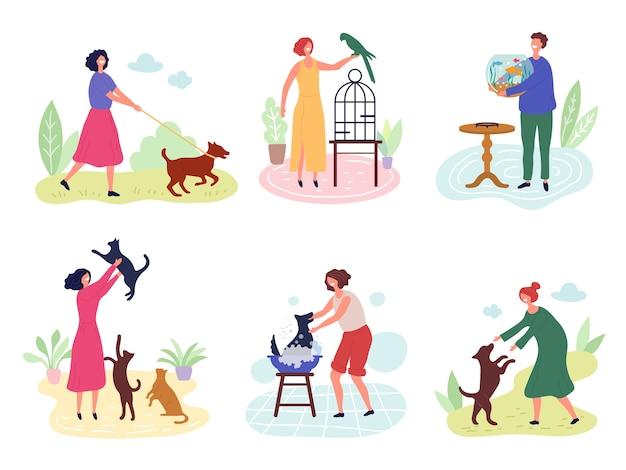 Menschen mit haustieren. hund katzen fische vögel kaninchen lieben für haustiere vektor zeichen. illustration vogel und fisch, hund und katze mit besitzer Premium Vektoren