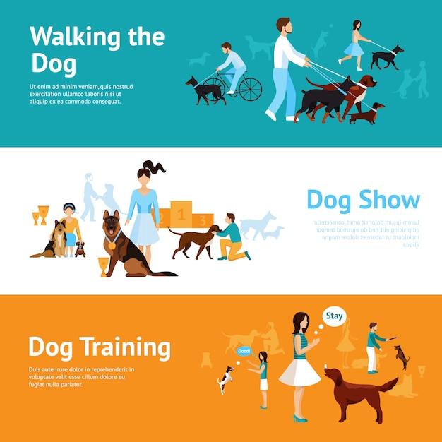Menschen mit hunde-banner-set Kostenlosen Vektoren