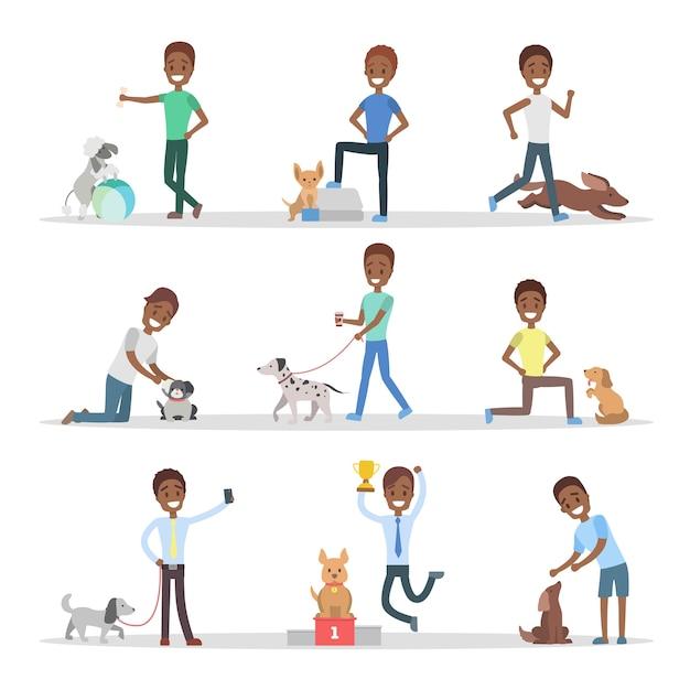 Menschen mit hunden eingestellt. Premium Vektoren