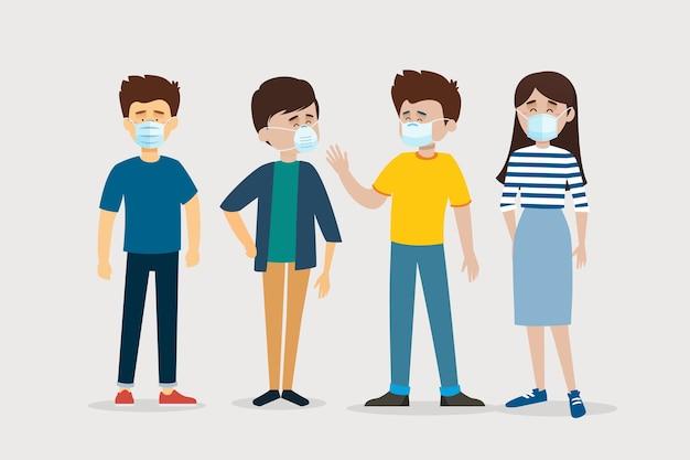 Menschen mit medizinischer maske Kostenlosen Vektoren