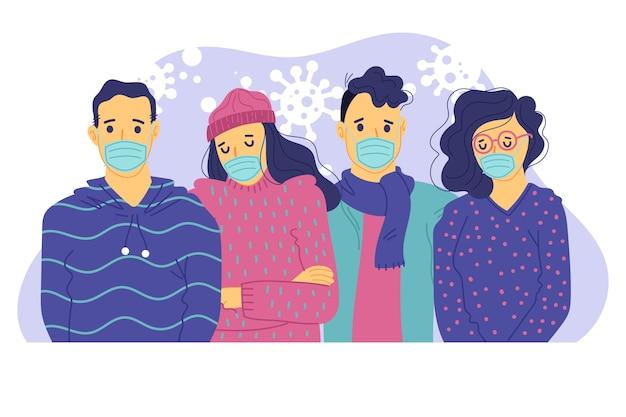 Menschen mit medizinischer schutzmaske Kostenlosen Vektoren