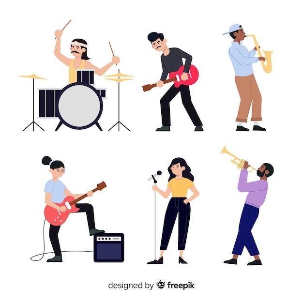 Menschen mit musikinstrumenten Kostenlosen Vektoren