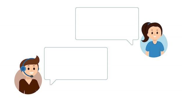 Menschen mit online-chat, support-service. leere sprechblasen für ihren text. Premium Vektoren