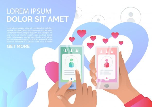 Menschen mit online-dating-anwendung auf smartphones Kostenlosen Vektoren
