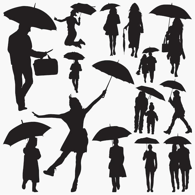 Menschen mit regenschirm-silhouetten Premium Vektoren