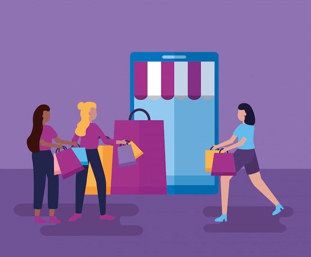 Menschen mit taschen einkaufen Kostenlosen Vektoren