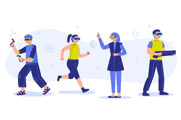 Menschen mit virtual-reality-brille Kostenlosen Vektoren