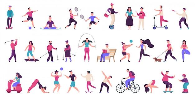 Menschen outdoor-aktivitäten. aktiver, gesunder lebensstil, joggen, laufen, rollschuhe, fahrrad- und inlineskaten-illustrationsikonen gesetzt. menschen aktivität im freien, yoga volleyball und golf Premium Vektoren