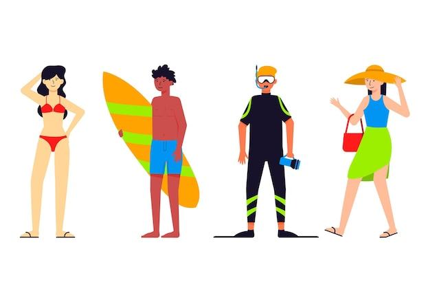 Menschen posieren in verschiedenen kostümen für den strand Kostenlosen Vektoren