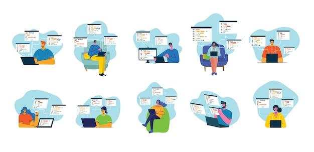 Menschen programmieren und codieren Premium Vektoren