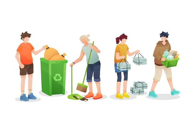Menschen recycling lokalisiert auf weißem hintergrund Kostenlosen Vektoren