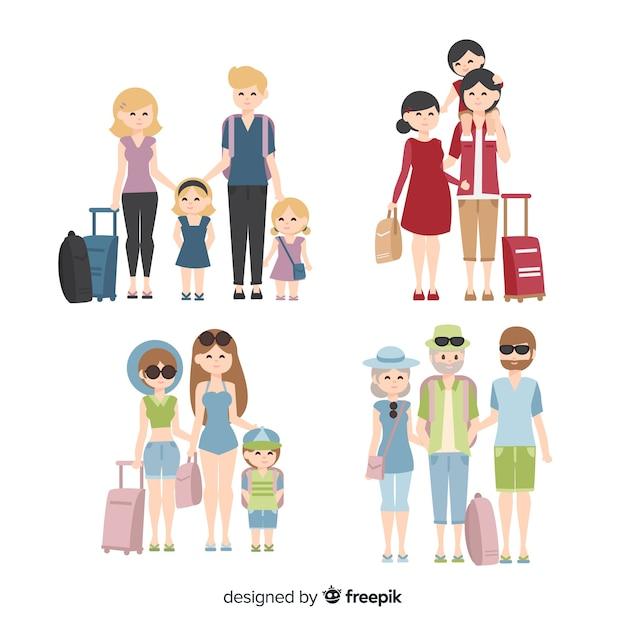 Menschen reisen Sammlung Kostenlose Vektoren