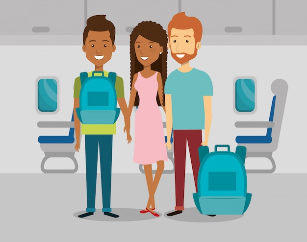 Menschen reisende im flugzeug Kostenlosen Vektoren