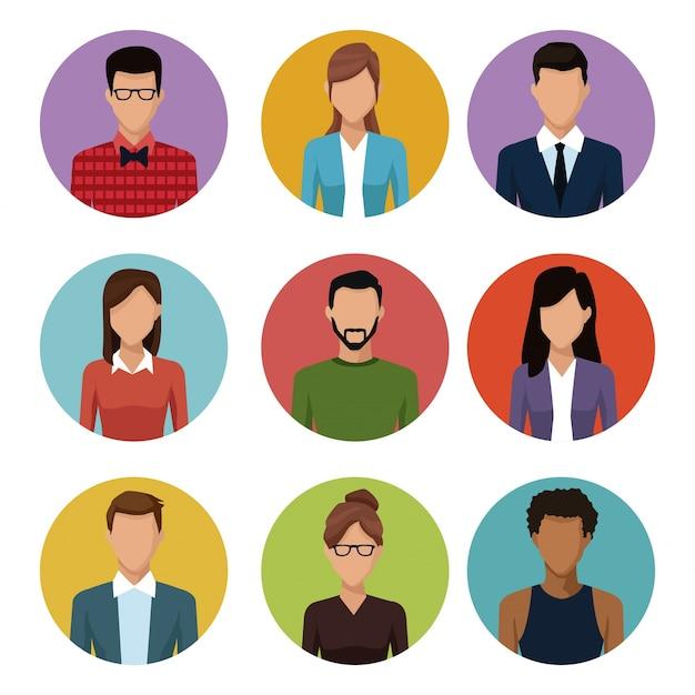 Menschen runden ikonen junges paar cartoon Premium Vektoren