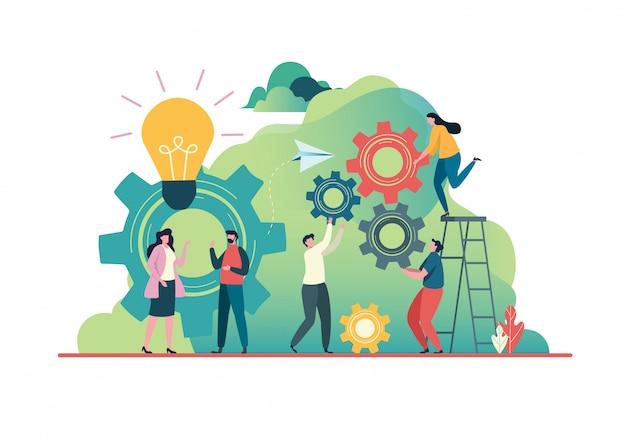 Menschen schaffen idee zum erfolg. Premium Vektoren
