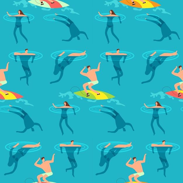 Menschen schwimmen und tauchen im meer. sommerzeit auf nahtlosem muster der exotischen weinlese des strandes Premium Vektoren