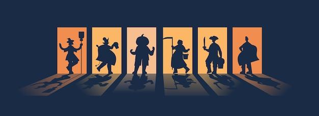Menschen silhouetten in verschiedenen kostümen feiern glückliche halloween party konzept grußkarte horizontale vektor-illustration in voller länge Premium Vektoren