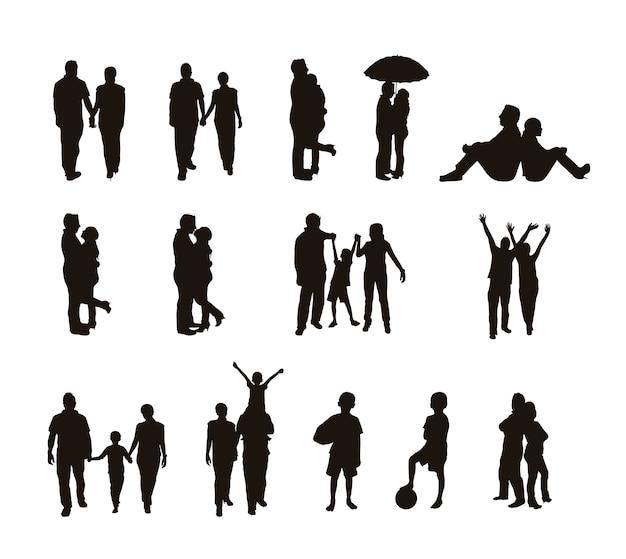 Menschen silhouetten isoliert über weißem hintergrund vektor-illustration Premium Vektoren