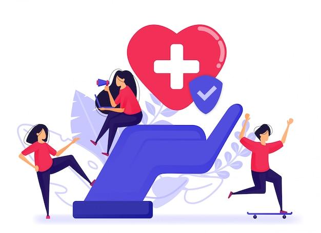 Menschen sind glücklich, weil sie bereits eine kranken- und lebensversicherung haben. Premium Vektoren