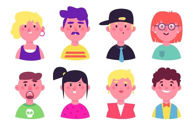 Menschen smiley avatare verschiedener persönlichkeiten Kostenlosen Vektoren