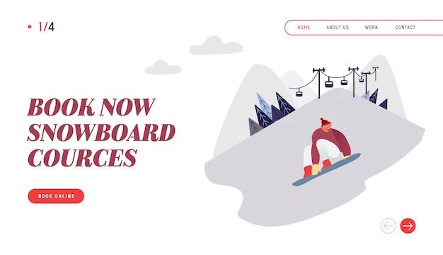 Menschen snowboarding website landing page. snowboard man rider charakter mit spaß und winter mountain sports aktivität. ski resort sport freizeit webseite banner. Premium Vektoren
