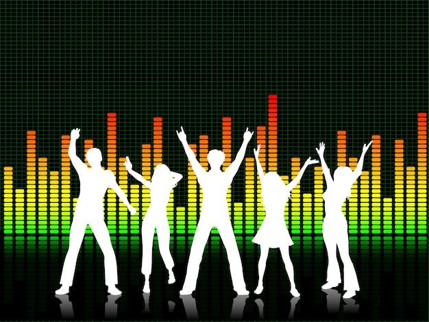 Menschen tanzen auf grafik-equalizer-hintergrund Kostenlosen Vektoren