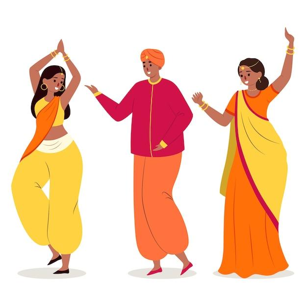 Menschen tanzen bollywood illustriert Kostenlosen Vektoren