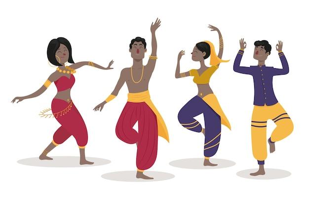 Menschen tanzen bollywood-sammlung Kostenlosen Vektoren