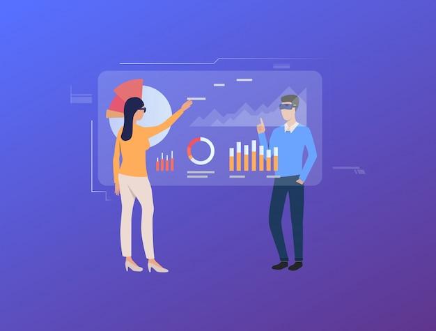 Menschen tippen auf futuristische virtuelle bildschirme mit diagrammen Kostenlosen Vektoren