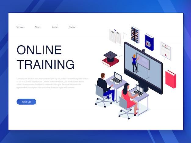 Menschen trainieren online horizontale isometrische banner auf blau 3d Kostenlosen Vektoren
