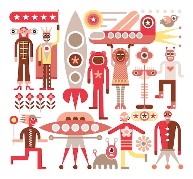 Menschen und aliens - vektor-illustration Premium Vektoren