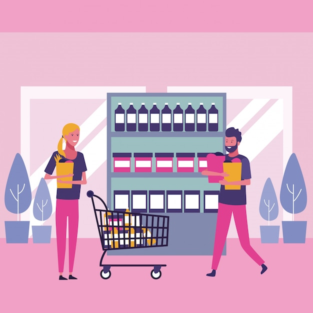 Menschen und einkaufen Premium Vektoren